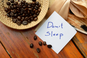 coffee beans in basket and don't sleep note