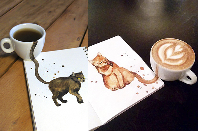 Pinturas com café ilustrando gatos